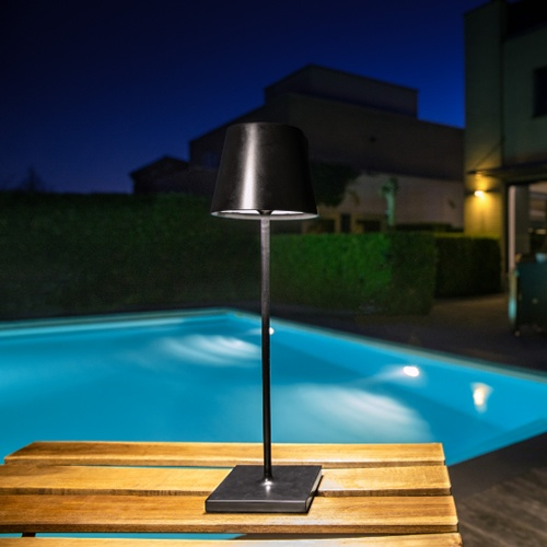 Lucide - JUSTIN - Table lamp Outdoor - Ø 11 cm - LED Dim. - 1x2,2W 3000K - IP54 - Black