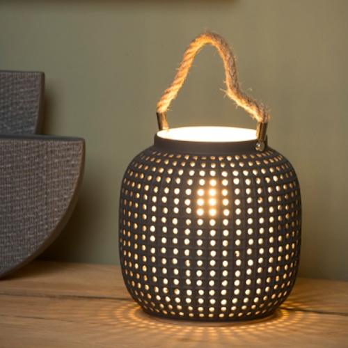 Lucide - SAFIYA - Table lamp - Ø 16,5 cm - E14 - Grey
