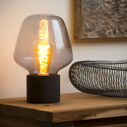 Lucide - BECKY - Table lamp - Ø 20 cm - E27 - Smoke Grey